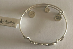 Disney Alex and Ani Parks Mickey & Minnie Kissing Bracelet Silver Finish New Tags