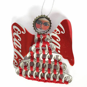 Authentic Coca Cola Coke UPAVIM Large Pull Tab Angel Christmas Ornament New Tags