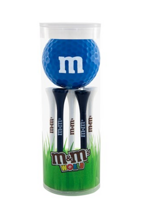 M&M's World Blue Character 1 Playable Golf Ball & 6 Tees New with Box Sealed