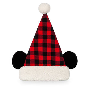 Disney Parks Yuletide Farmhouse Holiday Mickey Plaid Santa Hat for Adults New