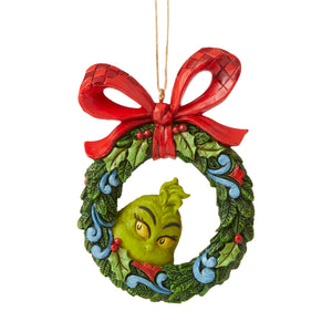 Jim Shore Grinch Peeking Thru Wreath Christmas Ornament New with Box