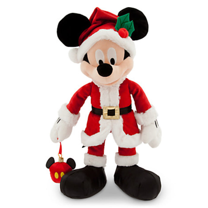 Disney Park Santa Mickey Mouse With Ornament Plush New with Tags