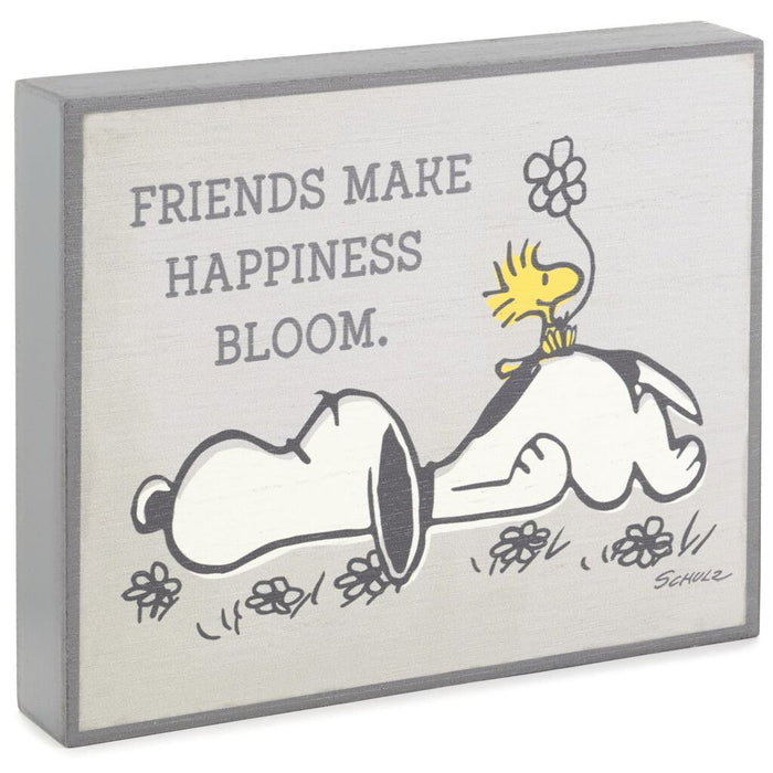 Hallmark Peanuts Snoopy Happiness Blooms Wood Quote Sign New