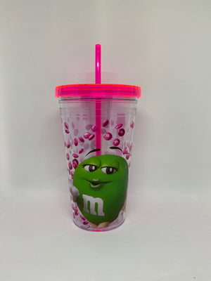 M&M's World Green Big Face Lentils Tumbler with Straw New