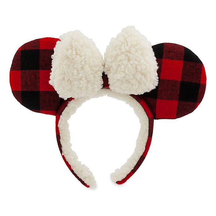 Disney Parks Minnie Mouse Plaid Holiday Ear Headband for Adults New with Tag