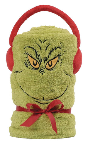 Department 56 Snowthrows The Grinch Christmas Dr. Seuss Fleece Throw Blanket New