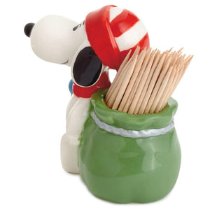 Hallmark Peanuts Snoopy Christmas Ceramic Toothpick Holder New