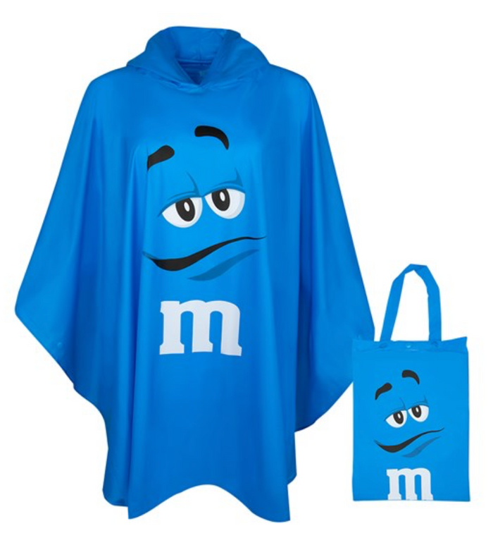 M&M's World Blue Characters Poncho in Tote Bag One Size New with Tag