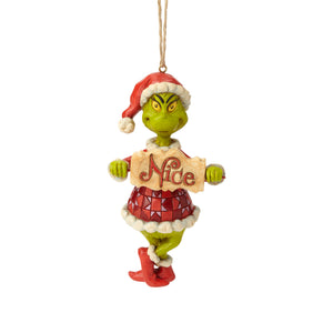 Jim Shore Grinch with Naughty Nice Sign Christmas Ornament New with Box