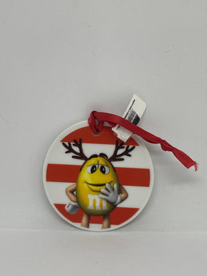 M&M's World Yellow and Red Ceramic Disc Christmas Ornament New with Tag