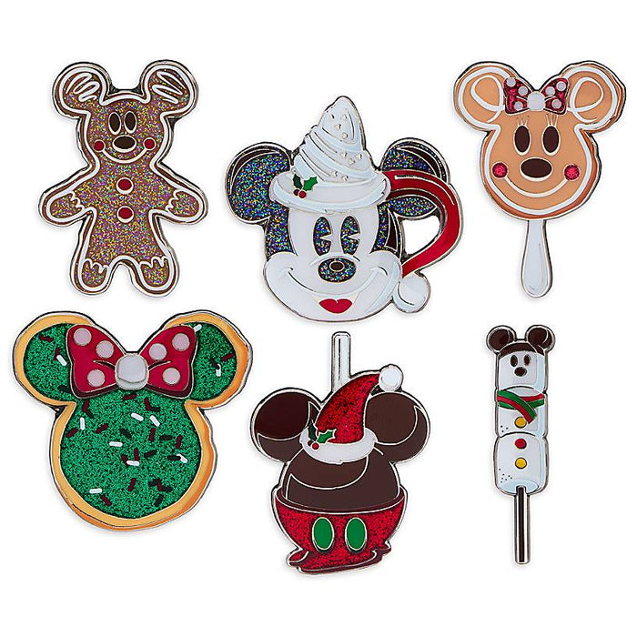 Disney Parks Holiday Park Foods Pin Set of 6 New with Card