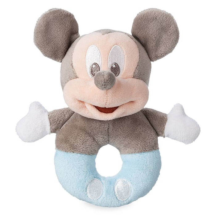 Disney Parks Blue Mickey Mouse Rattle for Baby Plush New with Tag