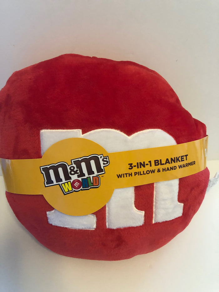 M&M's World Red Character 3 in 1 Blanket with Pillow and Hand Warmer New w Tag