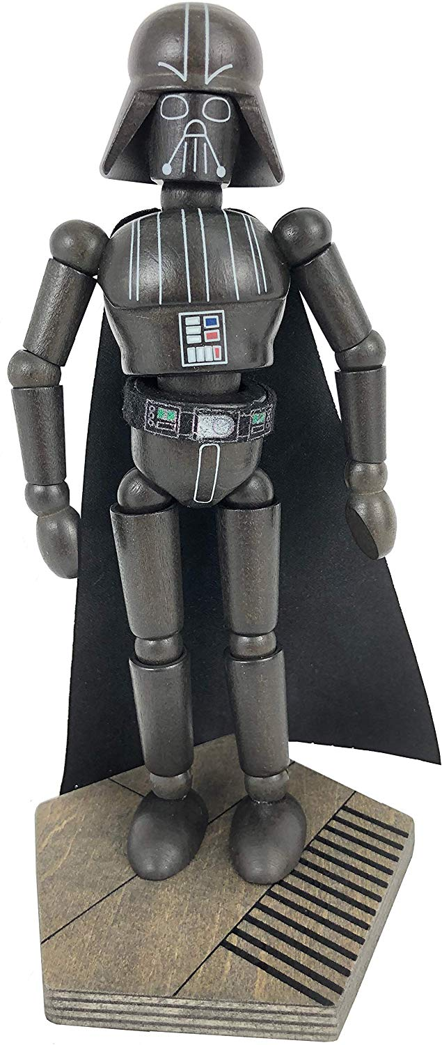 Disney Parks Star Wars Galaxy's Edge Wooden Darth Vader Bendable Toy Figurine