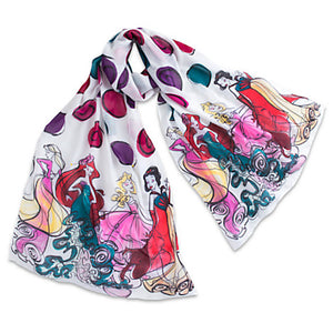 Disney Parks Scarf Runway Princesses White New with Tag