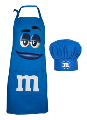 M&M's World Blue Character Apron and Chef Hat Set for Adult New with Tag