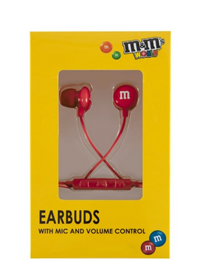 M&M's World Red Wired Ear Buds with Microphone New with Box