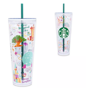 Disney Parks Walt Disney World Resort Locations Tumbler with Straw Starbucks New