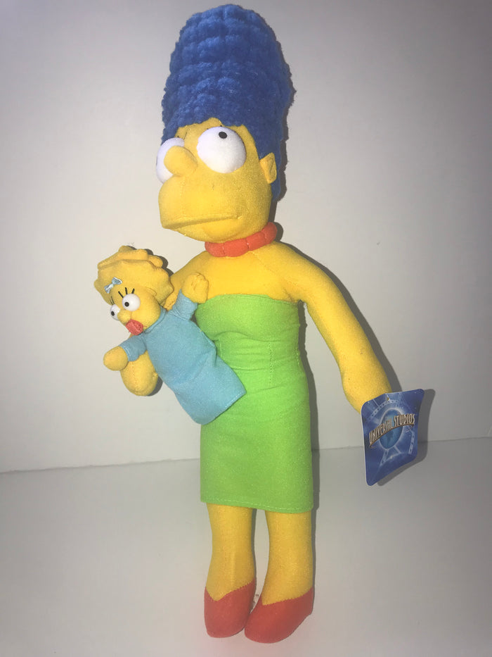 "Universal Studios The Simpsons Marge With Baby Maggie Doll Plush 19"" New"