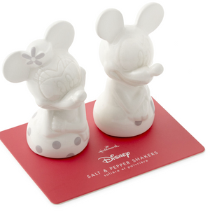 Hallmark Valentine Disney Mickey Minnie White Silver Salt and Pepper Shakers New