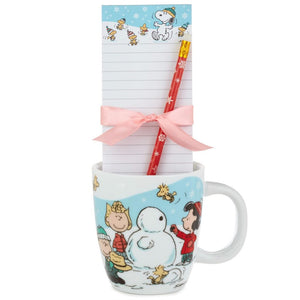 Hallmark Peanuts Holiday Snowman Mug and Stationery Gift Set New