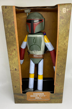 Disney Parks Star Wars Galaxy's Edge Wooden Boba Fett Doll Toy Figurine New Box