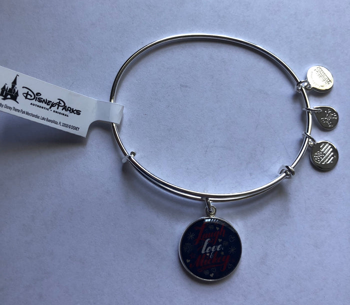 Disney Alex and Ani Laugh Love & Mickey Bangle Silver Finish New with Tags
