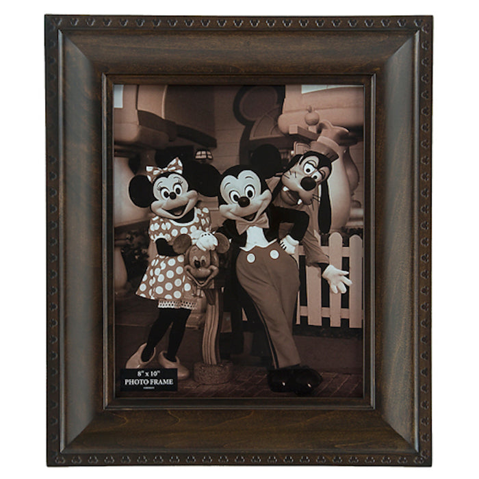 Disney Parks Mickey Icon 8x10 Wood Dark Brown Photo Frame New with Box