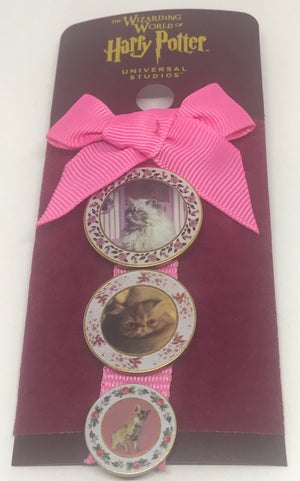 Universal Studios Harry Potter 3 Cat Plate Ribbon Pin Wizarding World New