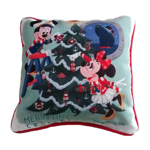 Disney Cruise Line Mickey and Minnie Merry Holiday Pillow New with Tag