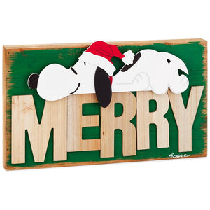 Hallmark Peanuts Christmas Santa Snoopy Rustic Wood Quote Sign Merry New
