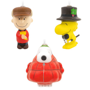 Hallmark Charlie Brown Snoopy and Woodstock Decoupage Ornaments Set of 3 New