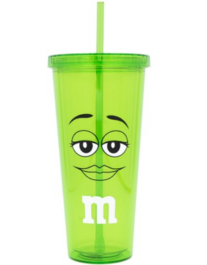 M&M's World Green Character Smiling Lip Tumbler with Straw New