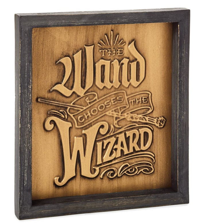 Hallmark Harry Potter Wand Chooses the Wizard Quote Sign 8x9 New