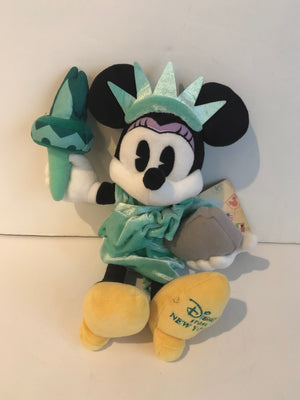 "Disney Store Authentic 12"" Minnie Mouse Lady Liberty Plush New With Tags"