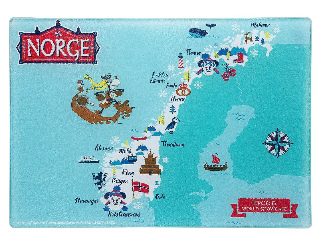 Disney Parks Epcot Mickey & Friends Norway Map Glass Cutting Board ...