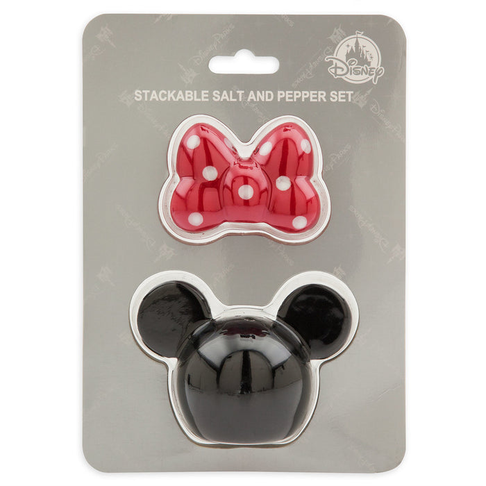 Disney Parks Minnie Mouse Stackable Salt and Pepper Set New with Box