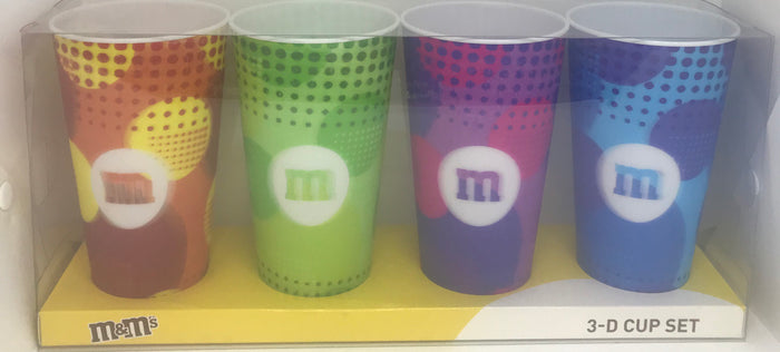 M&M's World Lenticular 24oz 3-D Cup Tumbler Set of 4 New with Box