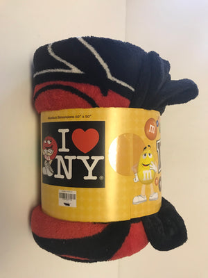 M&M's World Red I Love New York Blanket New with Tags