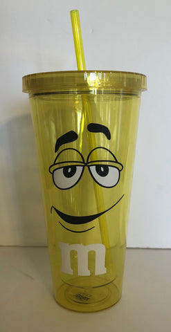 M&M's World Yellow Character Big Face Tumbler with Straw New