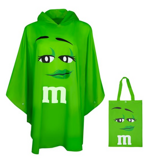 M&M's World Green Characters Poncho in Tote Bag One Size New with Tag