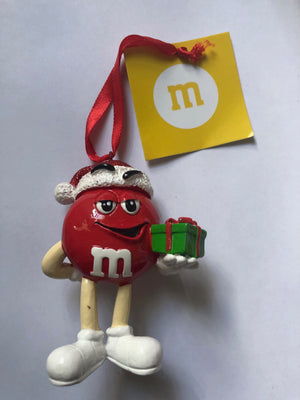 M&M's World Red Character with Present Resin Christmas Ornament New with Tag