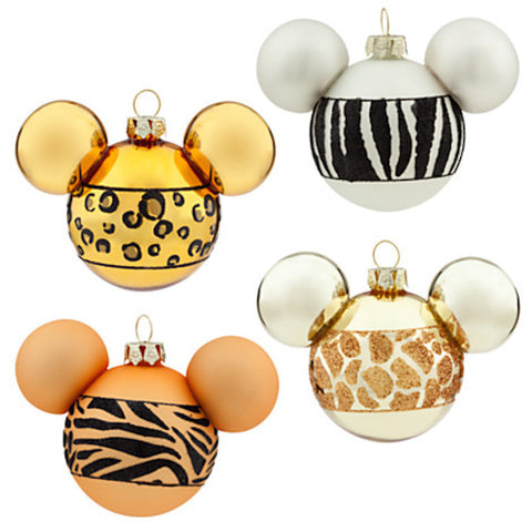 disney animal kingdom animal print mickey icons christmas ornament set new with box - I Love Characters