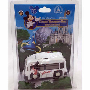 disney parks die cast metal transport bus mickey & goofy new with card