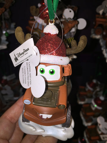 disney parks christmas cars tow mater with santa hat ornament new with