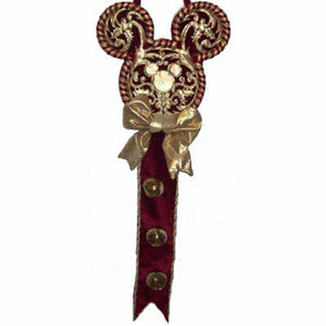 disney christmas door hanger mickey mouse ears red and gold new with tag - I Love Characters