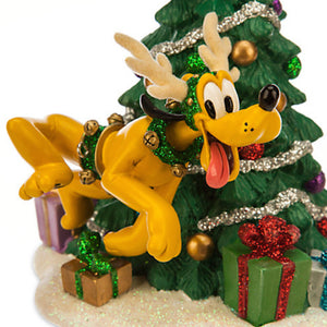 disney parks glitter pluto as reindeer christmas holiday figurine new with box