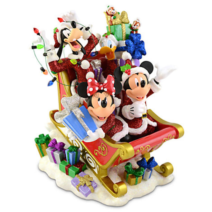 disney parks santa mickey mouse and friends holiday sleigh figurine new with box