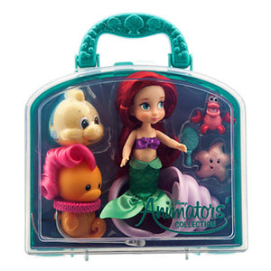 "disney parks princess ariel animator mini doll set 5"" with accessories new with case"