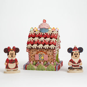 Disney Jim Shore tradition light up mickey minnie gingerbread house new with box